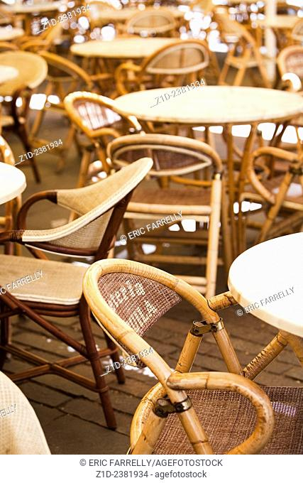 Empty seats and tables. Santa Cruz de Tenerife. Tenerife