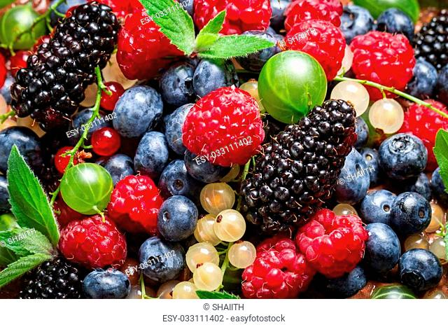 Closeup of fresh berry fruits