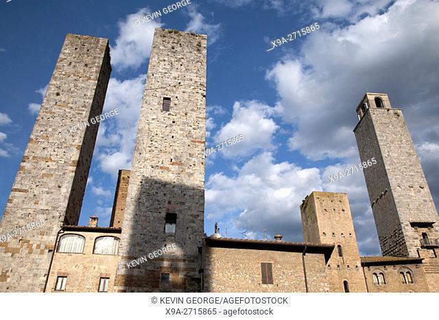 Torri Salvucci and Torre Grossa Towers; San Gimignano; Tuscany; Italy