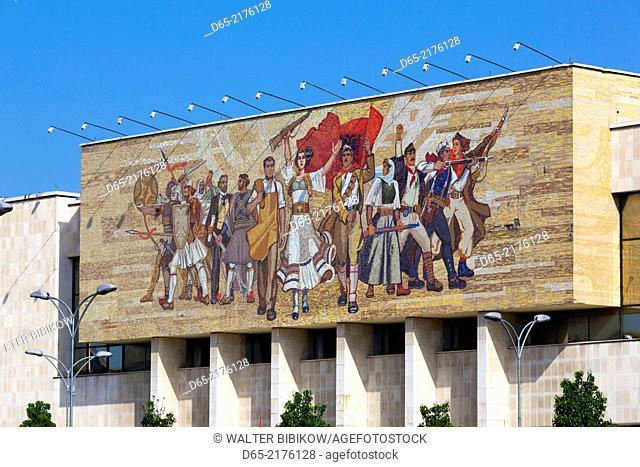 Albania, Tirana, Skanderbeg Square, National Historical Museum, mosaic