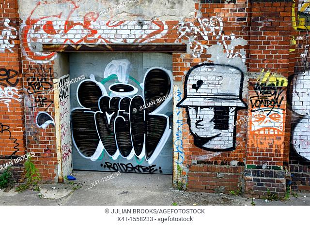 Graffiti depicting a German Stormtrooper on a brick wall in the former East Berlin