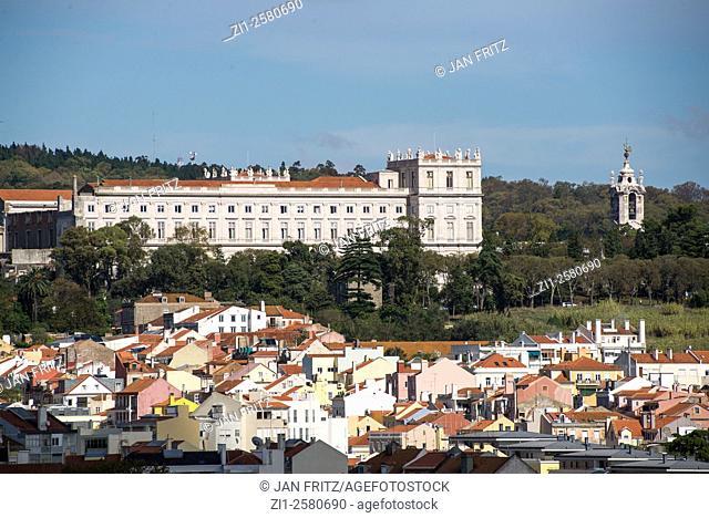 aerial view at of alto da ajuda at lisboa portugal