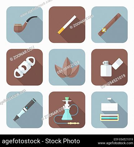 vector color flat design various tobacco goods accessories square icons set long shadow