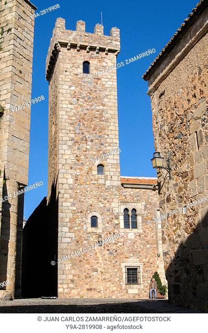 Tower of Palacio de las Ciguenas, or of Capitan Diego de Ovando XVIth century,Caceres, historical downtown, Unesco World Heritage, Patrimonio de la Humanidad