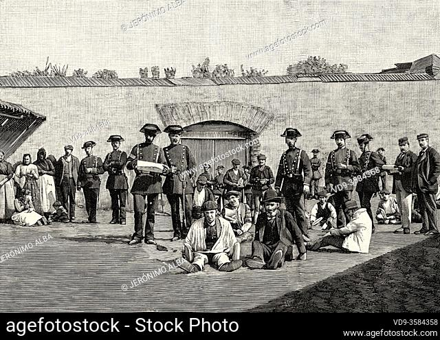 Prisoners of the prison in the bullring. Second explosion of the Cabo Machichaco steamship in the port of Santander, March 21, 1894, Cantabria. Spain