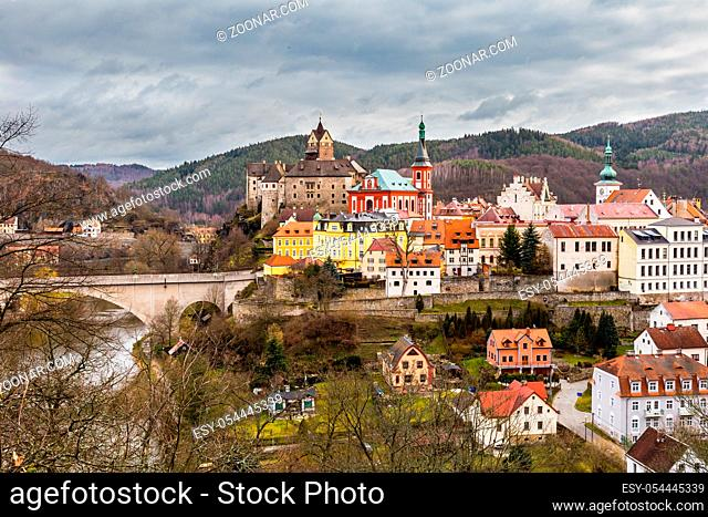 View on Loket town with medieval royal castle near Karlovy Vary Resort in Czechia