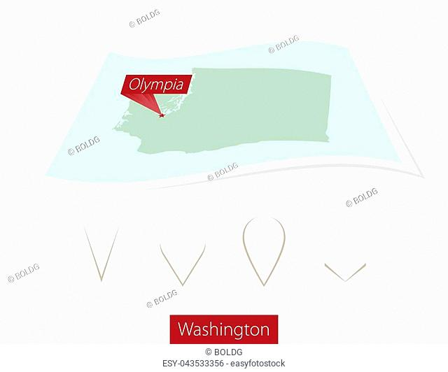 Curved paper map of Washington state with capital Olympia on Gray Background. Four different Map pin set. Vector Illustration