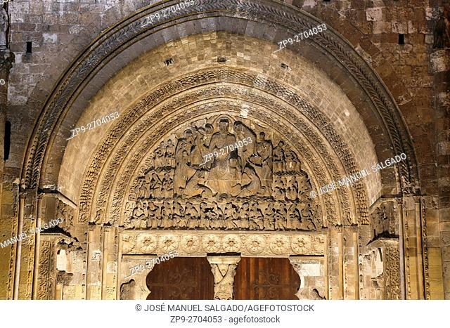 The tympanum of the south-west portico, Moissac Abbey, a Benedictine and Cluniac monastery in Moissac, Tarn-et-Garonne in south-western France