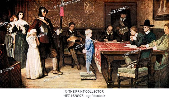 'And When Did You Last See Your Father?', 1878, (c1920). Fictional event from the English Civil War (1640s) showing a Royalist house under occupation by...