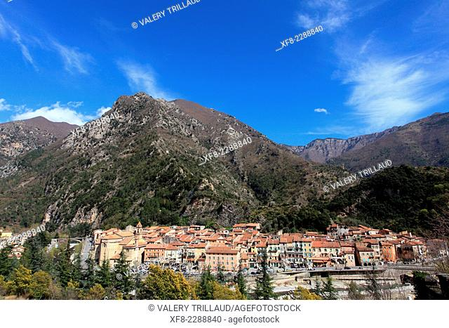 The perched village of Breil sur Roya in the Roya Valley, Mercantour national park, Alpes-Maritimes, Provence-Alpes-Côte d'Azur, France