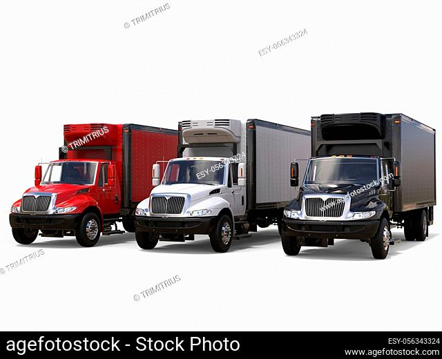Black white and red refrigerator trucks - side by side