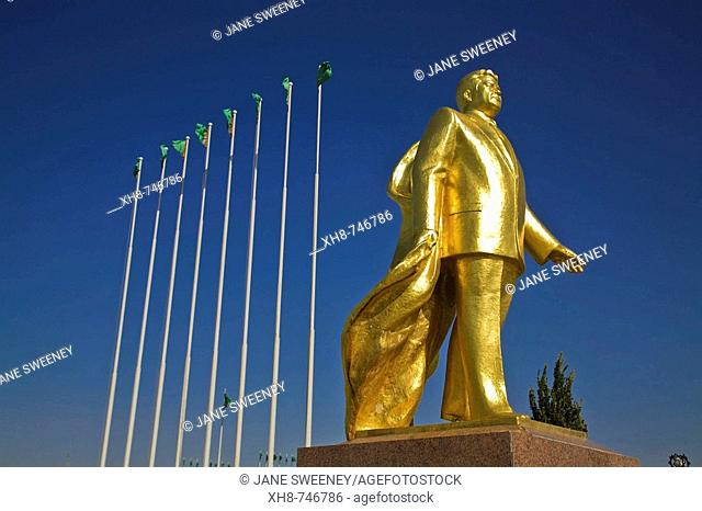 Takhi horse statue built for the Tenth anniversary of Independance and gold statue of former president for life Saparmurat  Niyazov - Turkmenbashi, Ashkabad