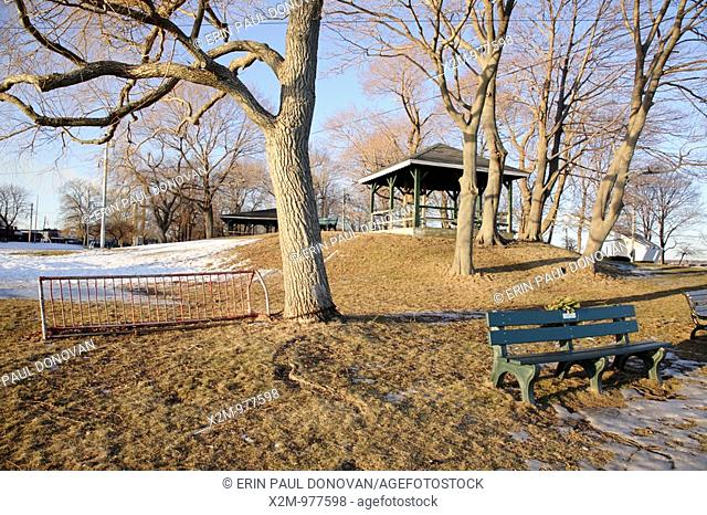 Salem Willows Park during the winter months  Located in Salem, Massachusetts USA which is part of scenic New England  This park is known for its European white...