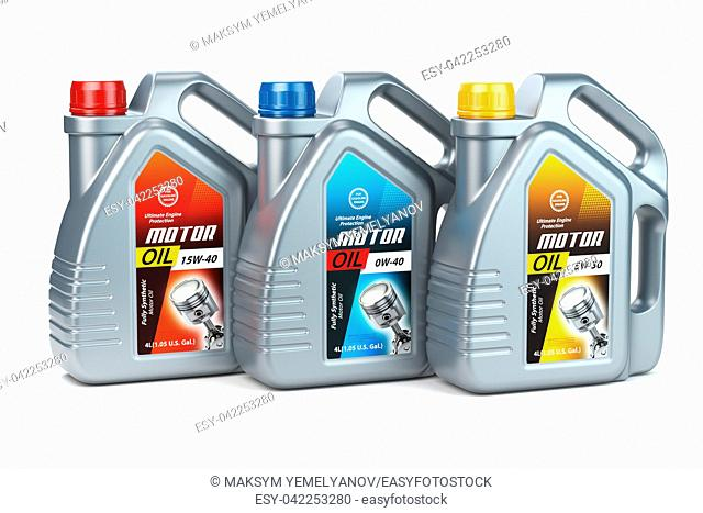 Pllastic motor oil canisters with different types of motor oil on white isolated background. . 3d illustration