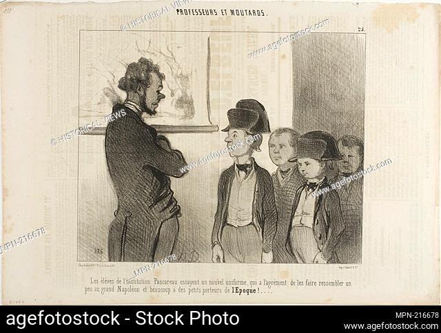 The pupils of the Institute Pascareau are trying their new school uniform which makes them look a little like the great Napoleon and a lot like little newspaper...