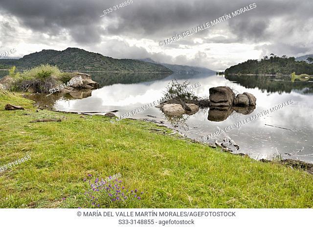 Burguillo resservoir in La Rinconada on a cloudy day. Avila. Spain