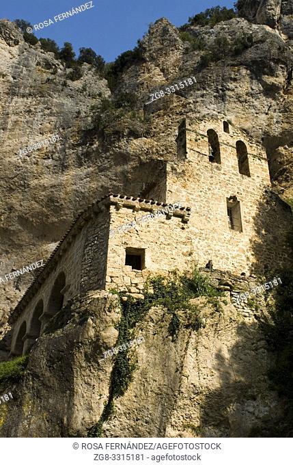 Santa Maria de la Hoz Hermitage, in Late-Romanesque style, XIII Century, Tobera, Las Merindades, Burgos, Castilla y Leon, Spain