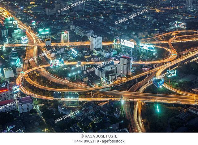 Bangkok, City, Ratchaprarop, Thailand, Asia, central, crossing, high, highways, traffic, transport, skyline, street, lights