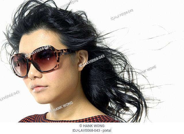 Close-up of a fashion model posing