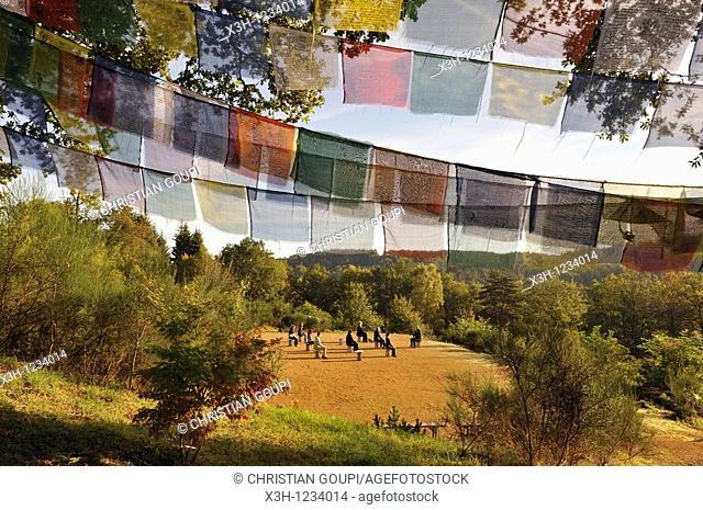 Tai chi chuan class, Parc du Silence, a unique location for training and retreat, Livradois-Forez Regional Nature Park, Puy-de Dome department, Auvergne region