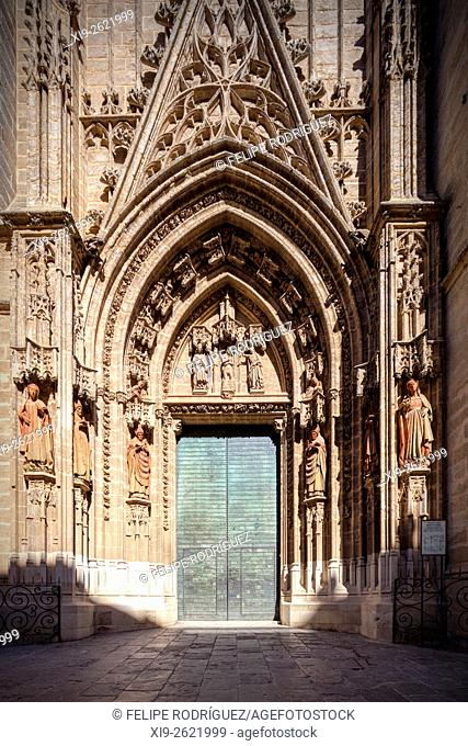 Door of Baptism, Seville Cathedral, Spain. [edit]. The Door of Baptism was built in the 15th century and decorated with a scene depicting the baptism of Jesus