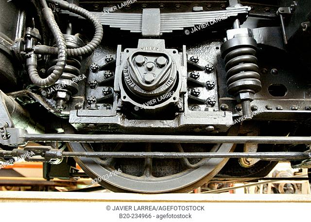 Detail of wheels, train at museum of railway history. Azpeitia. Guipúzcoa, Euskadi. Spain