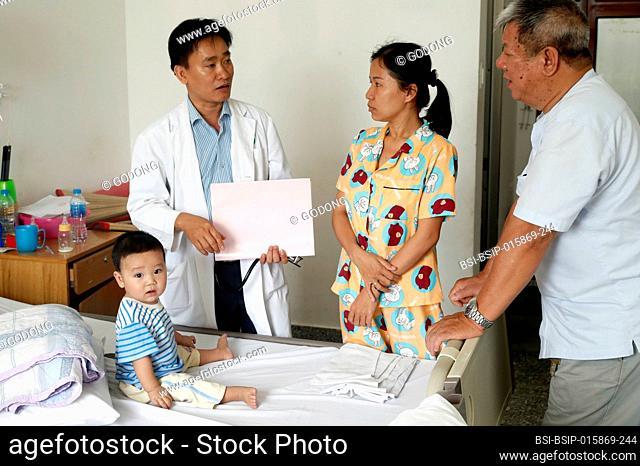 Tam Duc Cardiology Hospital. Pediatric ward. Child suffering of heart disease. Ho Chi Minh City. Vietnam