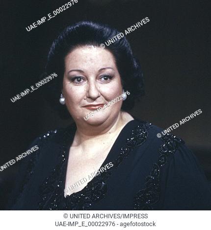 Die spanische Opernsängerin Montserrat Caballe, Deutschland 1990er Jahre. Spanish opera singer Montserrat Caballe, Germany 1990s