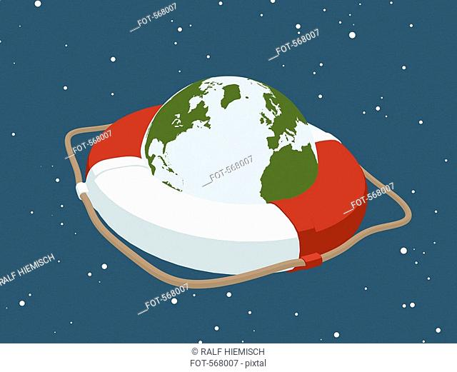 Planet earth inside a life ring