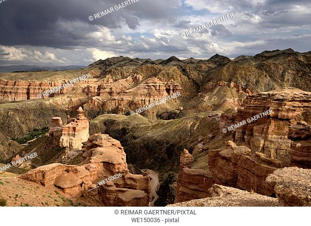 Charyn Canyon National Park with road to Eco Park on Charyn river Kazakhstan