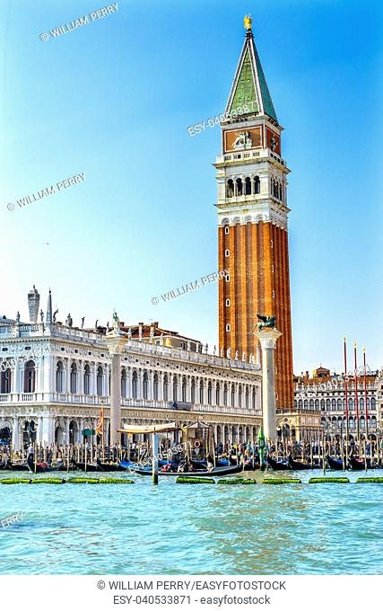 Campanile Bell Tower Saint Mark's Square Doge Palace Grand Canal Gondolas Venice Italy