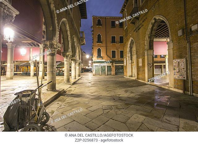 Venice, Veneto, Italy : Twilight in Grand Canal. Rialto market