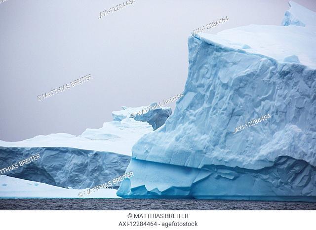 Iceberg graveyard behind Pleneau Island near Lemaire Channel; Antarctica