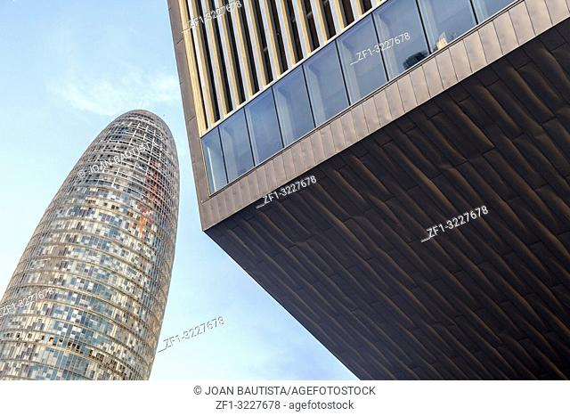 Contemporary architecture buildings, Tower, Torre Agbar and building, Edifici Disenny Hub, Glories square, Barcelona