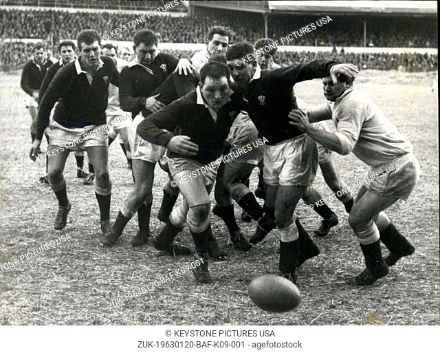 Jan. 20, 1963 - England beat wales 13-6 at Cardiff : The England team beat Wales by 13 points to 6 - on the frozen pitch at Cardiff Arms Park yesterday