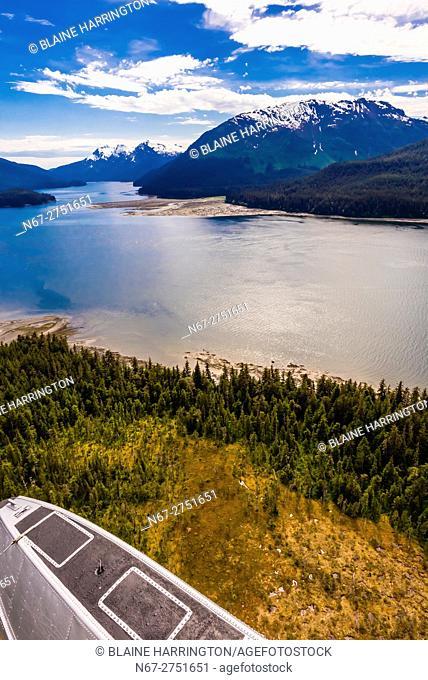 Aerial view, Pack Creek Bear Sanctuary on Admiralty Island, southeast Alaska USA