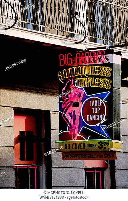 NEON SIGN of a stripper bar on BOURBON STREET at night in the French Quarter, USA, Louisiana, New Orleans