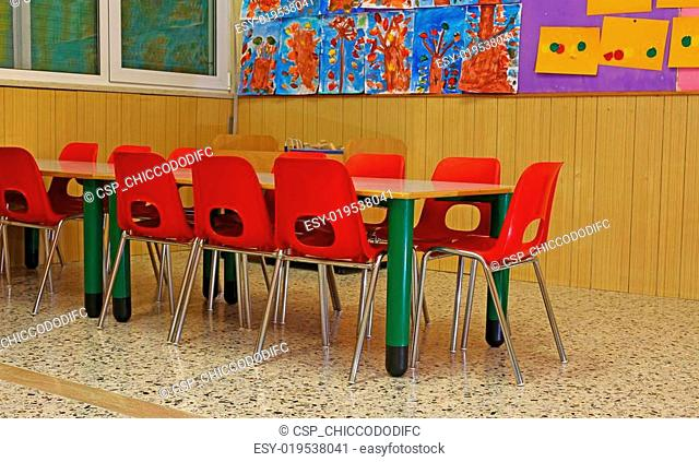 little chairs and benches of a school for young children