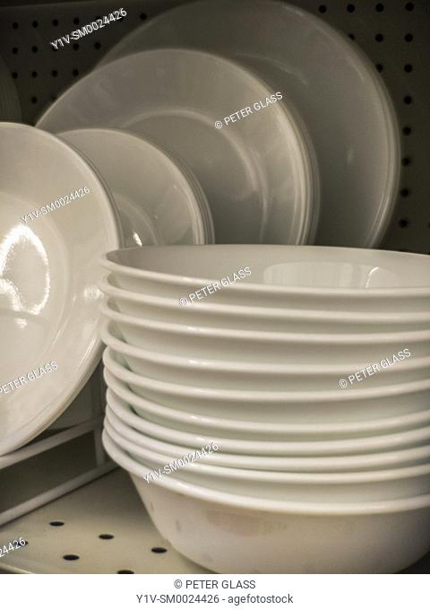 Dishes and bowls on display in a store