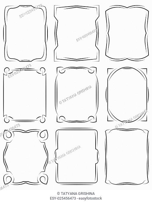 set of frames design elements. Editable vector illustrator file