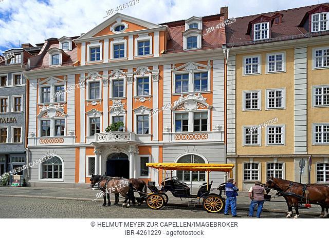 Napoleon house, 1717 Baroque house, with horse-drawn carriages, Obermarkt, Zgorzelec, Oberlausitz, Saxony, Germany