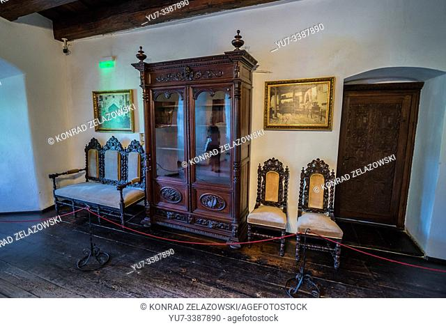 """Large drawing room in Bran Castle near Bran, Romania, so called """"""""Dracula's Castle"""""""", home of title character in Bram Stoker's """"""""Dracula"""""""" novel"""