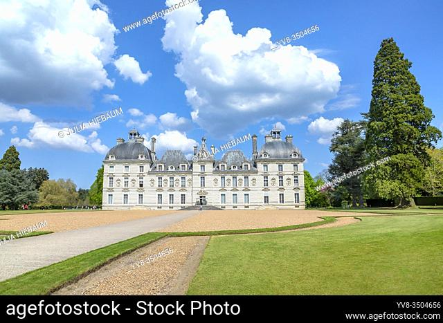 Front view of Chateau de Cheverny, Loire, France