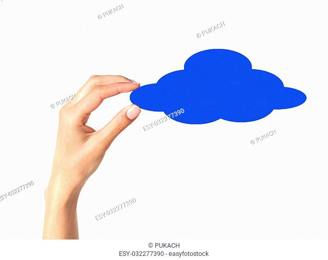 hands holding paper clouds on white background. Cloud computing concept