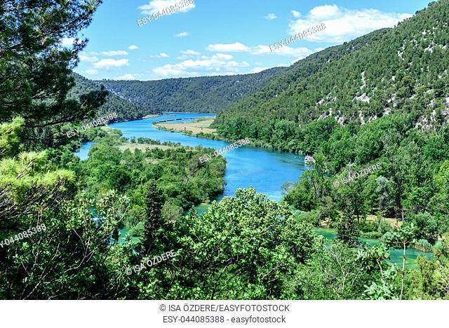 Panoramic View of Krka National Park ,one of the Croatian national parks in Sibenik,Croatia