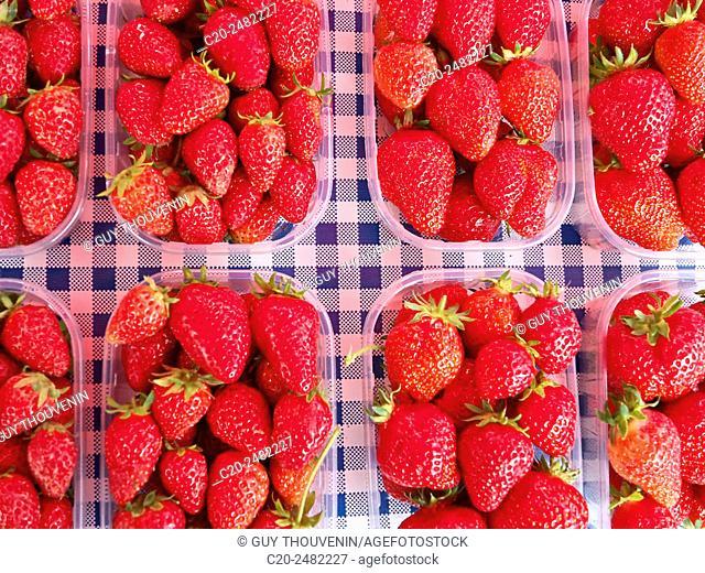 Strawberries for sale, open air market, Villers sur Mer, 14, Calvados, Normandy, France