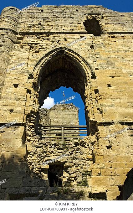 England, North Yorkshire, Knaresborough, Looking up at the ruins of Knaresborough Castle. The castle was largely destroyed in 1648 as a result of an order by...