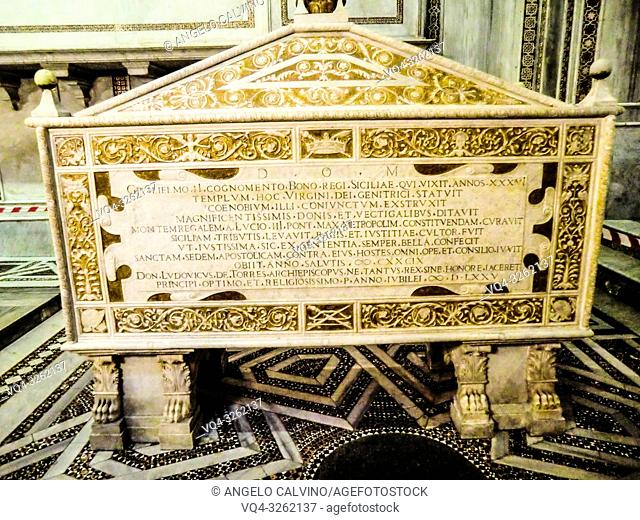 Sarcophagus of William II of Sicily (1153-1189), Monreale Cathedral, Monreale, Sicily, Italy