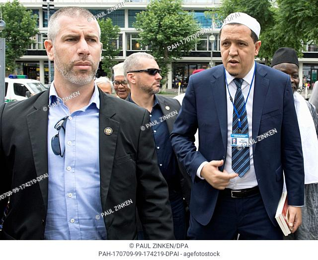 Imam Hassen Chalghoumi (R) at the 'Muslim March Against Terrorism' demonstration in Berlin, Germany, 9 July 2017. A group of 30 Muslims took part in an...