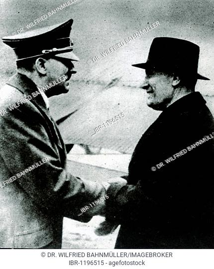 Adolf Hitler and Benito Mussolini in 1943 after his escape from the Allied troops, historical photo circa 1943